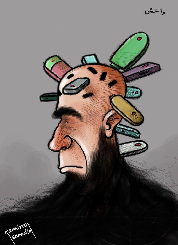 عمل للفنان الكاريكاتير الكردي كاميران شمدين