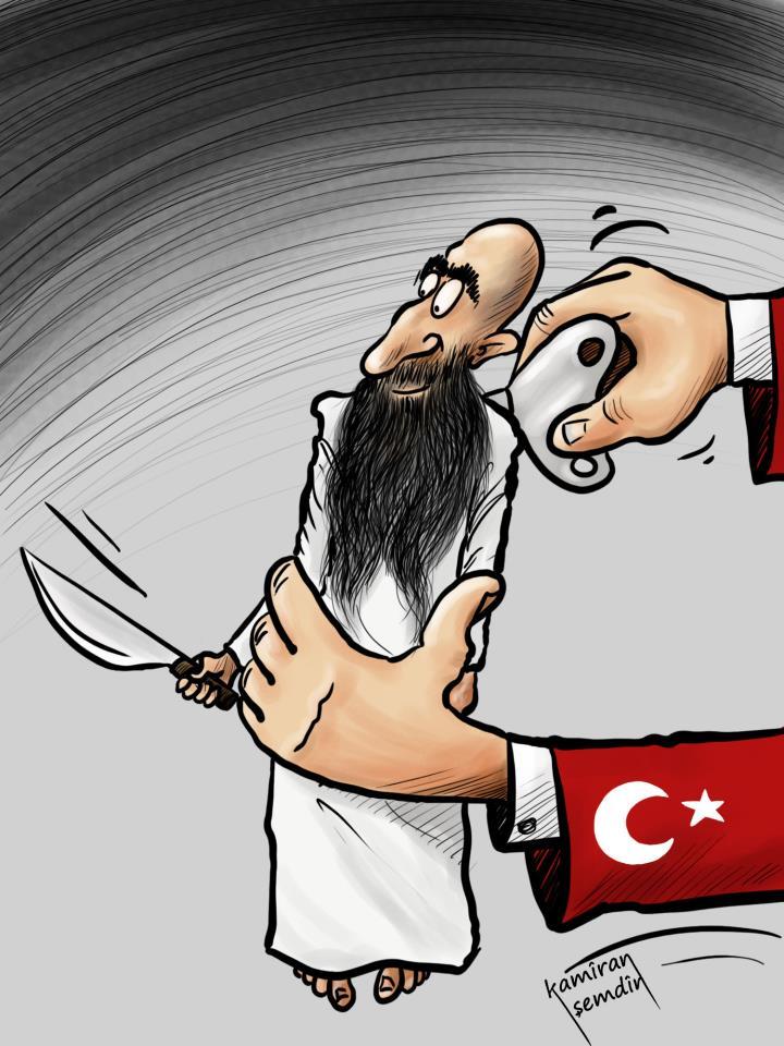 عمل للفنان الكاريكاتير الكردي Kamiran Shemdin